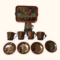 Tray Can 4 Cup with Saucer Tin Lithographed Vintage German Dollhouse