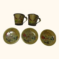2 Cup and 3 Saucer Tin Lithographed Vintage German Dollhouse