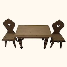 Table with Two Chair Antique German Dollhouse