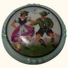 Porcelain Brooch Dancing Couple Schumann Bavaria Vintage German