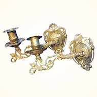 Pair Vintage Brass Piano Candle Holder