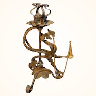 Antique German Hand - Forged Iron Candle Holder 1890