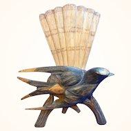 Antique German Wood Carved Swallow Letter Holder