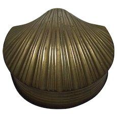 Vintage Brass Shell Form Brass Box