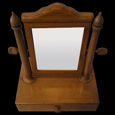 Antique German Wood Biedermeier Travel Vanity Shaving Mirror 1857 with History