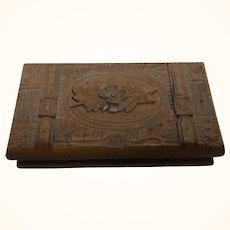 Antique German Hand Carved Wood Stamps Box Souvenir from Kissingen
