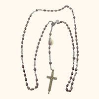 Old Rosary Wood Beads with Relic