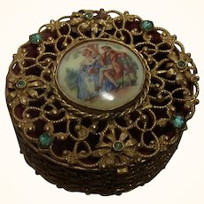 Antique Round Ormolu Box with Couple on China Plaque