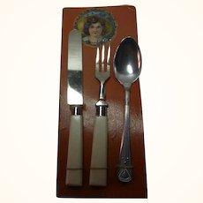 Old Vintage German Child Doll Knife Fork Spoon on Display