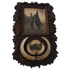 Vintage German Black Forest Carved Wood Wild Boar Trophy Hunt Picture