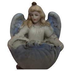 Antique German Bisque Angel Holy Water Font