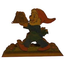 Vintage German Napkin Holder Fretwork Gnome