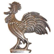 Vintage Silvered Bottle Opener Crowing Rooster