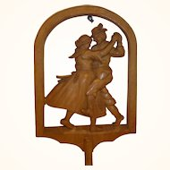 Vintage German Carved Wood Wall Candle Holder Dancing Bavaria Couple