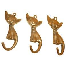 3 Vintage Brass Cat Wall Hook Walter Bosse Style