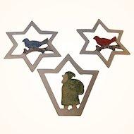3 Vintage Christmas Ornaments Santa and Birds