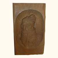 Vintage German Carved Wood Black Forest Man with Pipe Wall Plaque
