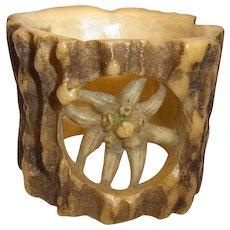 Vintage German Black Forest Carved Deer Antler Napkin Ring Edelweiss