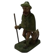 Man with Goat Wood Carved and Painted German Folk Art