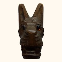 Black Forest Hand Carved Wood Nutcracker Cat Head