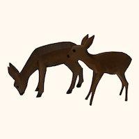 German Hand Carved Wood Deer Deer and Fawn
