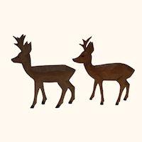 German Hand Carved Wood 2 Stags Deer