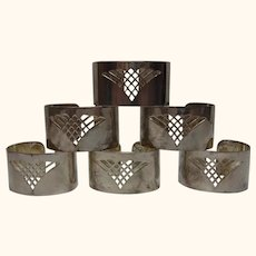 6 Vintage Silver Plated Napkin Rings