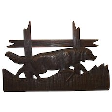 Antique German Carved Wood Wall Ornament Hunting Dog
