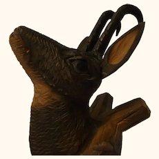 Vintage German Chamois Coat Hook Black Forest Hand Carved