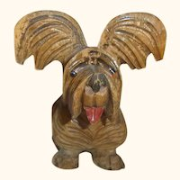 Vintage Italy Carved Wood Terrier Dog ANRI Style