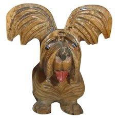 Vintage German Carved Wood Terrier Dog