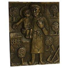 Vintage German Bronze Plaque Egino Weinert St. Joseph as a carpenter with Jesus