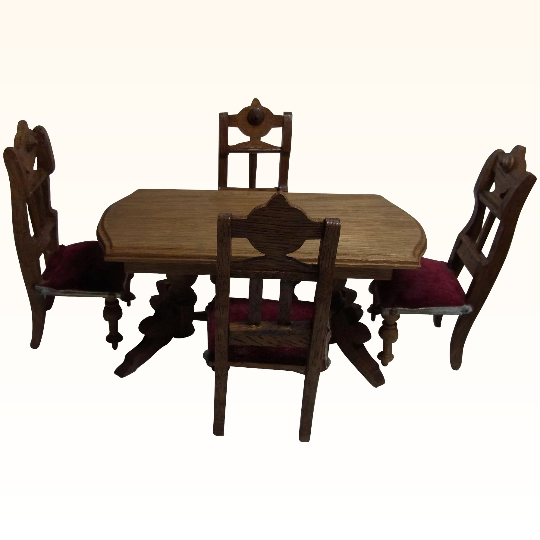 Antique German Dollhouse Dining Room Table 4 Chair Historismus