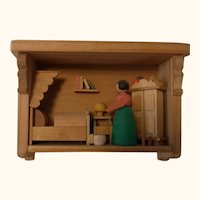 German Erzgebirge Wood Small Dollhouse Bedroom