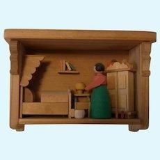 German Erzgebirge Wood Small Dollhouse Bedroom
