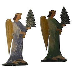 Two German Christmas Cardboard Angel