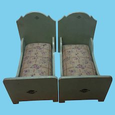 Two German Wood Doll or Dollhouse Bed with Mattress Handmade