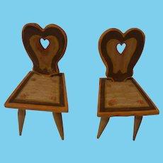 Two Vintage German Wood Dollhouse Chair