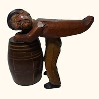 Vintage Italy ANRI Man Tipped on Barrel Box Dispenser
