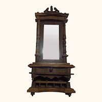 German Historicism Oak Wood Standing Mirror