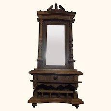 German Historicism Oak Wood Standing Mirror