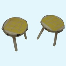 2 German Dollhouse Wood Stool 1950s
