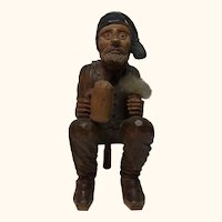 Table Snuff Box Hand Carved Wood Bavarian Man ca. 1900