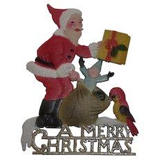 A Merry Christmas Santa German Cardboard Wall Ornament