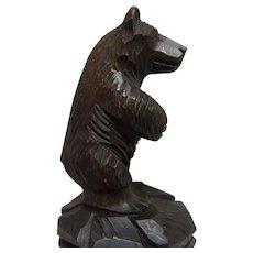 Black Forest Hand Carved Bear Bottle Stopper