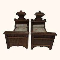 2 German Historicism Oak Wood Bed