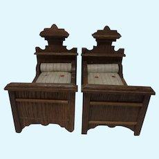 2 German Historicism Oak Wood Bed