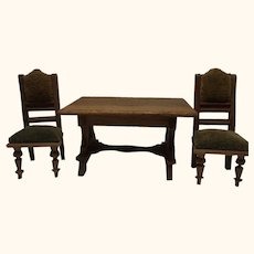 German Historicism Oak Wood Table and 2 Chair