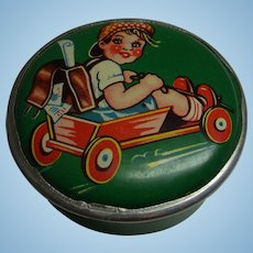 Vintage 1950s German Doll or Child Round Tin Box