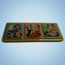 Vintage 1950s Western German Doll or Child  Tin Box